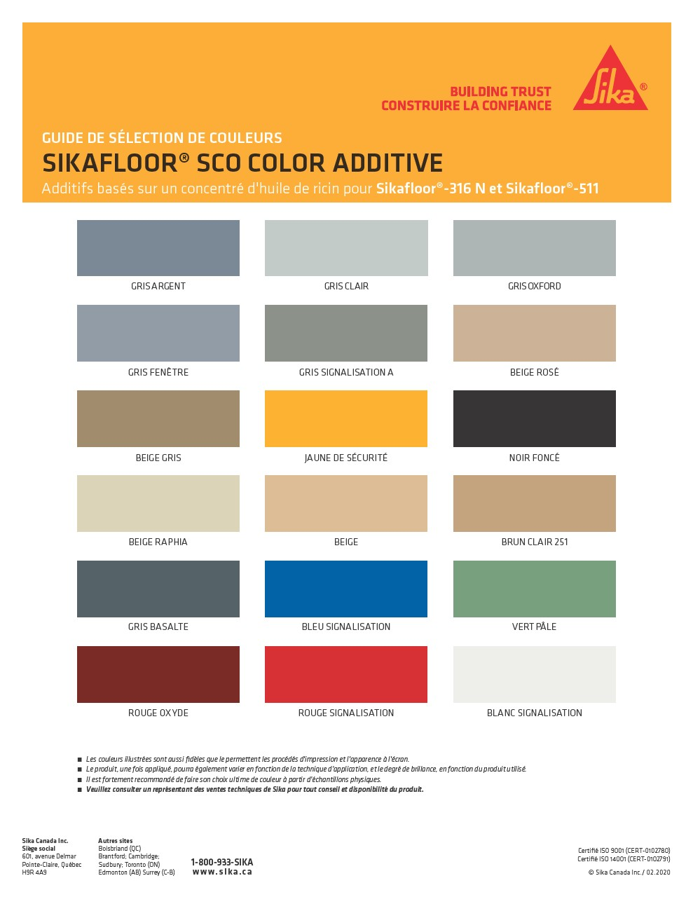 SCO Colour Additive - Colour Chart